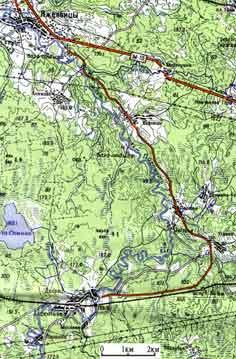 Крупная карта-километровка(150К)